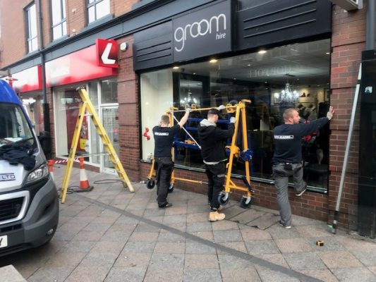 Shop front glass replacement, Warrington